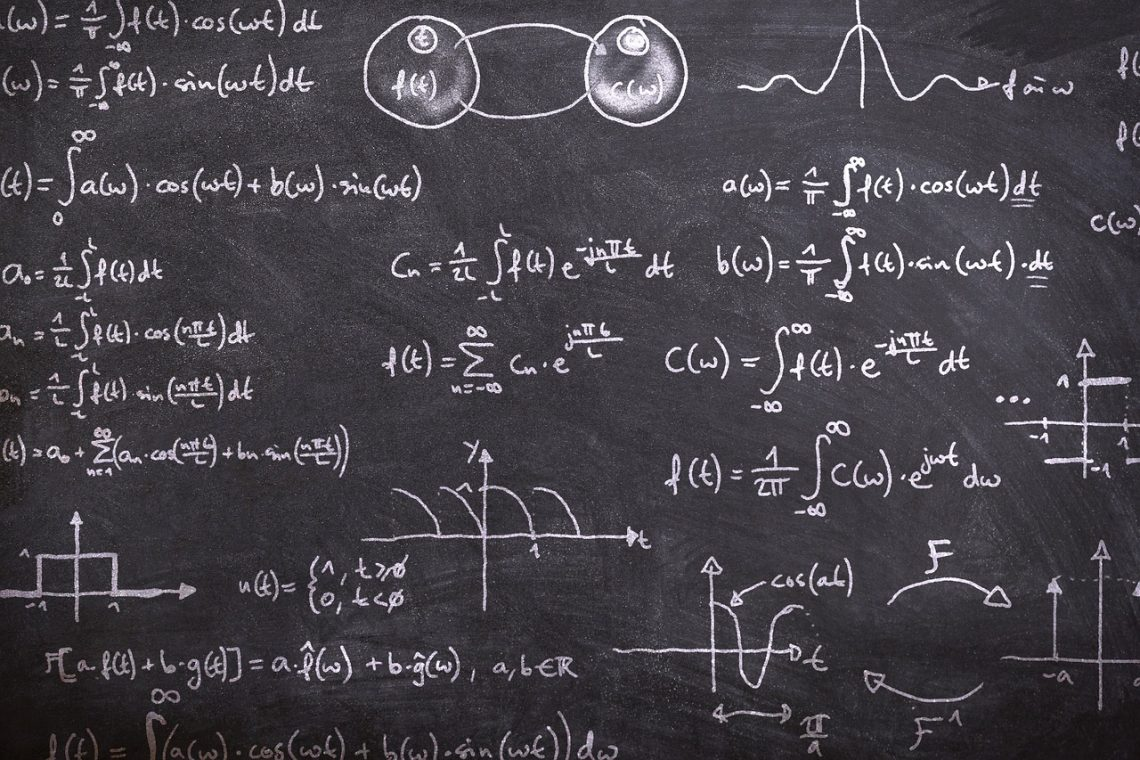 Math notes on the blackboard.